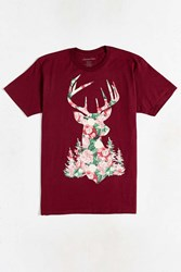 Urban Outfitters Stag Floral Tee Maroon