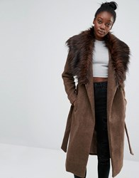 Only Drape Faux Fur Collar Coat Falcon Brown