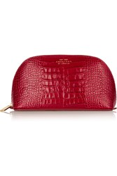 Smythson Mara Croc Effect Leather Cosmetics Case