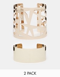 Lipsy Limited Edition 2 Pack Geo Cuff Bracelet Gold