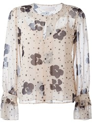 See By Chloe Floral Print Sheer Blouse Nude And Neutrals