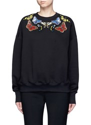 Alexander Mcqueen Butterfly Embellished Fleece Sweatshirt Black