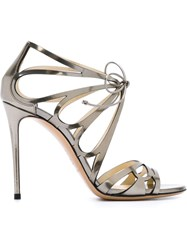 Casadei Cut Out Heeled Sandals Metallic