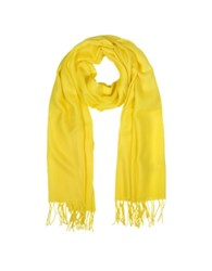 Mila Schon Wool And Cashmere Fringed Stole Yellow