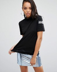 Shade London High Neck T Shirt With Arm Pocket And Badge Detail Black