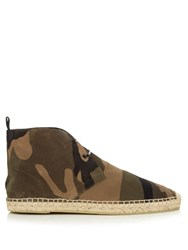 Saint Laurent Camouflage Brushed Suede Boot Khaki