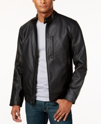 Alfani Men's Faux Leather Slim Fit Jacket Only At Macy's Deep Black