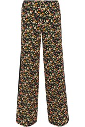 Tory Burch Folly Floral Print Crepe Wide Leg Pants Black