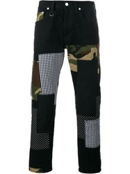 Sophnet. Patch Repair Camouflage Jeans Black