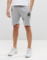 Only And Sons Only And Sons Jersey Shorts With Badge Details And Drawstring Waist Grey