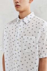 Cpo Scribble Circle Short Sleeve Button Down Shirt White