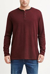 Forever 21 Marled Cotton Blend Tee Burgundy