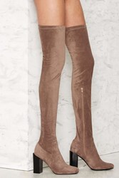 Nasty Gal Perouze Thigh High Boot Taupe