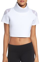 Alo Yoga Women's 'In Shape' Mock Neck Crop Top White
