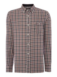 French Connection Lifeline Check Slim Fit Long Sleeve Shirt Blue