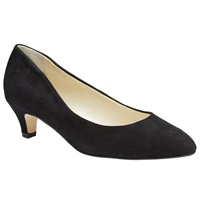 John Lewis Amesbury Kitten Heel Suede Court Shoes Black