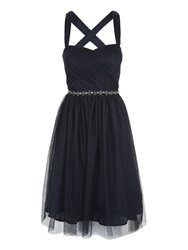 Jane Norman Short Mesh Prom Dress Navy