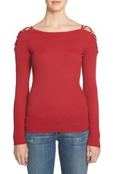 1.State Women's Lace Up Shoulder Cotton Sweater