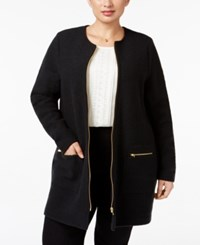 Charter Club Plus Size Wool Sweater Coat Only At Macy's Deep Black
