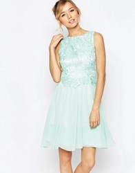 Little Mistress Skater Dress With Embroidery Bodice Mint Green