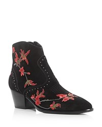 Ash Heidi Embroidered Pointed Toe Booties Black