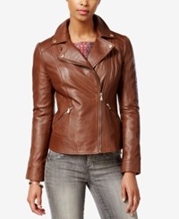 Guess Leather Moto Jacket Cognac