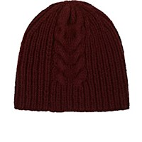 Dries Van Noten Men's Cable Knit Wool Beanie Burgundy