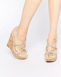 Asos Terrific Embellished Wedge Sandals Beige
