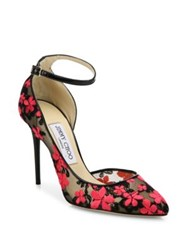 Jimmy Choo Lucy 100 Floral Embroidered Lace D'orsay Pumps Black Pink
