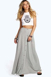 Boohoo 90'S Grunge Style Button Front Maxi Skirt Grey Marl