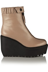 Opening Ceremony Luna Leather Wedge Boots Nude