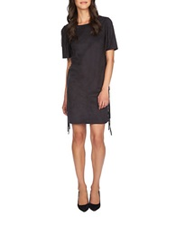 1 State Fringed Faux Suede Dress Rich Black