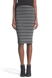 Painted Threads Stripe Knit Midi Skirt Gray
