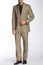 Hickey Freeman Tan Plaid Two Button Notch Lapel Wool Suit Beige