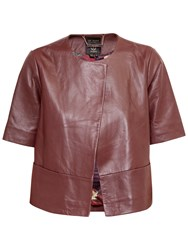 Ted Baker Short Sleeve Leather Jacket Oxblood