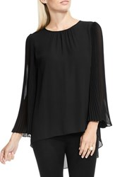 Vince Camuto Women's Pleated Chiffon Sleeve Blouse Rich Black
