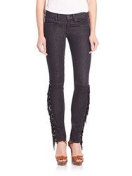Polo Ralph Lauren Leather Fringed Skinny Jeans True Black Wash