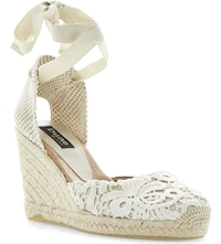 Dune Lambo Wedge Heel Sandals Cream Fabric
