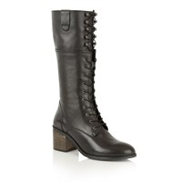 Ravel Sutton Knee High Boots Black Leather