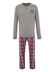 Racing Green Frank Check Loungewear Set Red