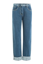 Kenzo Cropped Jeans With Logo Printed Waistband Blue