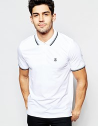 Selected Homme Polo Shirt With Tipped Collar Brigth White