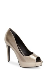 Women's Charles By Charles David 'Fox' Platform Peep Toe Pump Champagne Patent