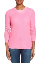 Women's White Warren Thermal Knit Crewneck Cashmere Sweater Hot Pink