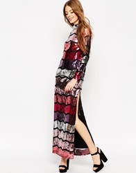Asos Long Sleeve Sequin Stripe Maxi Dress Multi