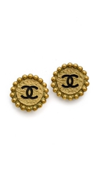 Wgaca Vintage Chanel Cc Ball Earrings Black