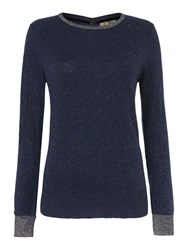 Biba Button Back Sparkle Crew Neck Jumper Navy