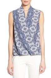 Women's Pleione Sleeveless Faux Wrap Blouse Ivory Blue Geo