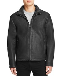 Cole Haan Leather Fleece Lined Jacket Black