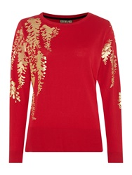 Biba Oriental Printed Crew Neck Jumper Red